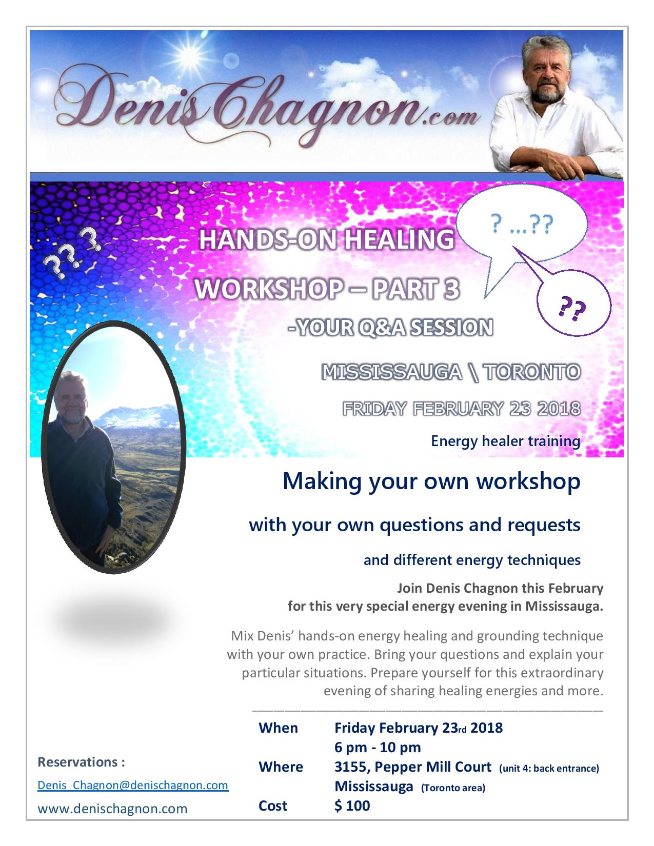 Workshop in Mississauga- Atelier en anglais avec Denis Chagnon